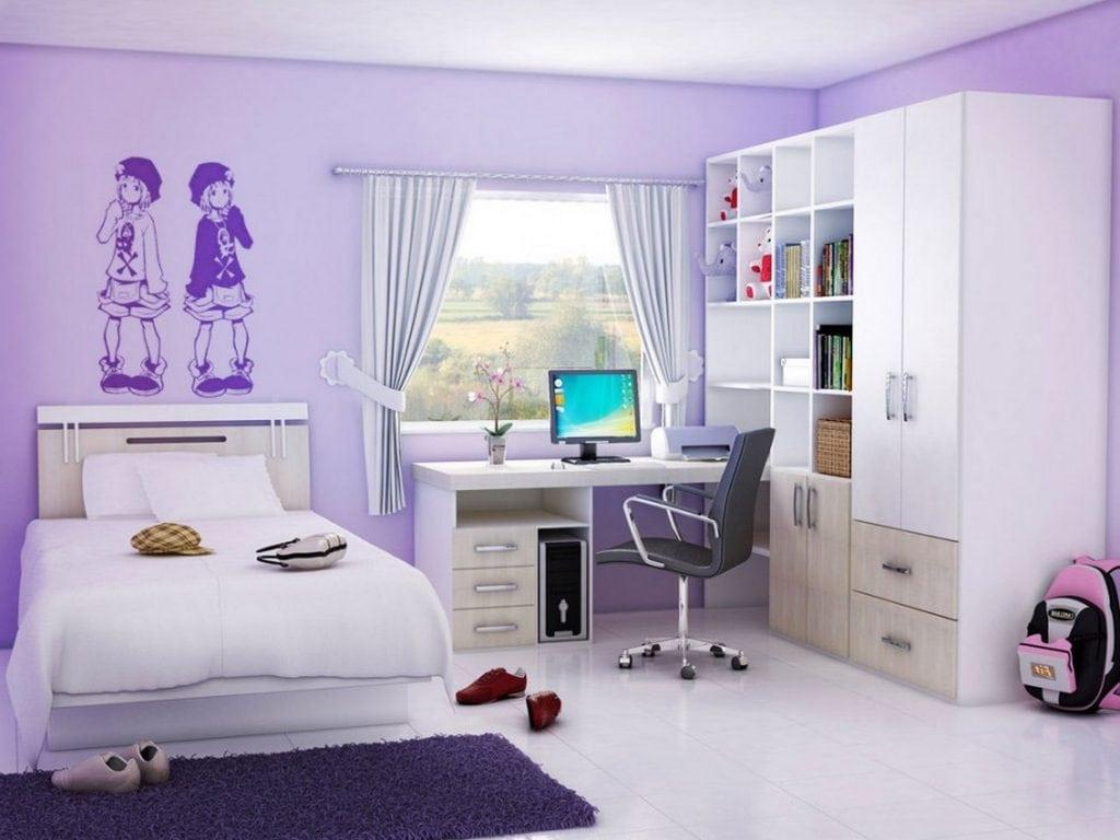 phòng ngủ bé gái màu tím oải hương