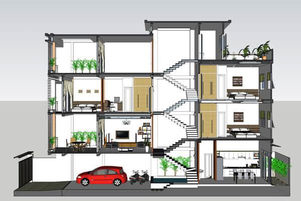 Phối cảnh không gian nội thất mẫu nhà ống lệch tầng