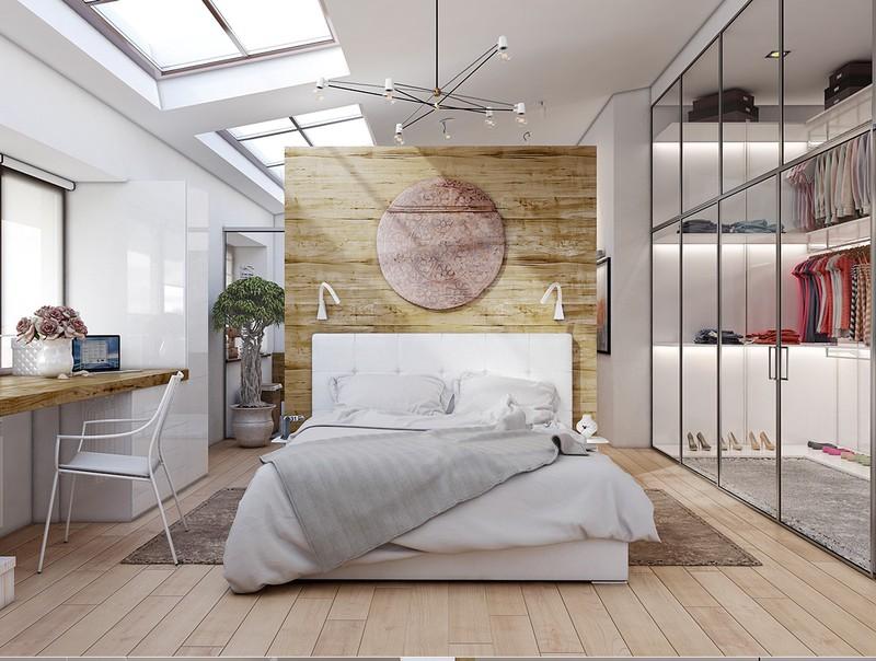 hình ảnh phòng ngủ với hướng đầu giường tốt tựa vào tấm gỗ có hình tròn màu tím, tủ quần áo cửa gương