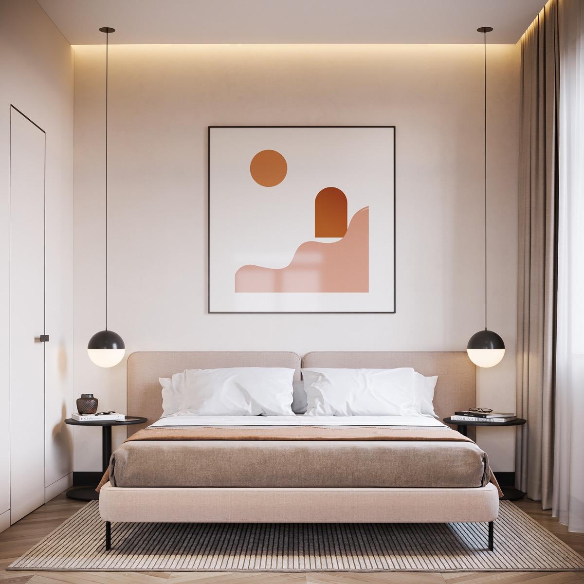 hình ảnh phòng ngủ màu sáng đẹp, tranh treo đầu giường có họa tiết màu cam