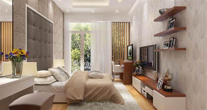 Không gian phòng ngủ master phong cách hiện đại, sử dụng nội thất cao cấp và sang trọng.