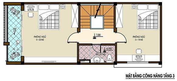 Mặt bằng bố trí nội thất tầng 3 nhà ống hiện đại