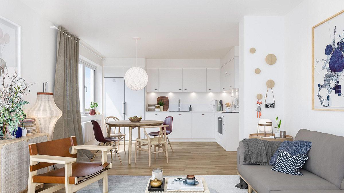 hình ảnh không gian phòng khách, phòng ăn trong một căn hộ chung cư hiện đại