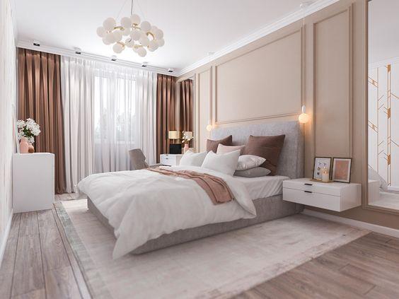 Phòng ngủ master sang trọng, bài trí khoa học, sử dụng tông màu trung tính trang nhã. Rèm cửa hai lớp lãng mạn, giúp điều tiết linh hoạt ánh sáng tự nhiên vào phòng.