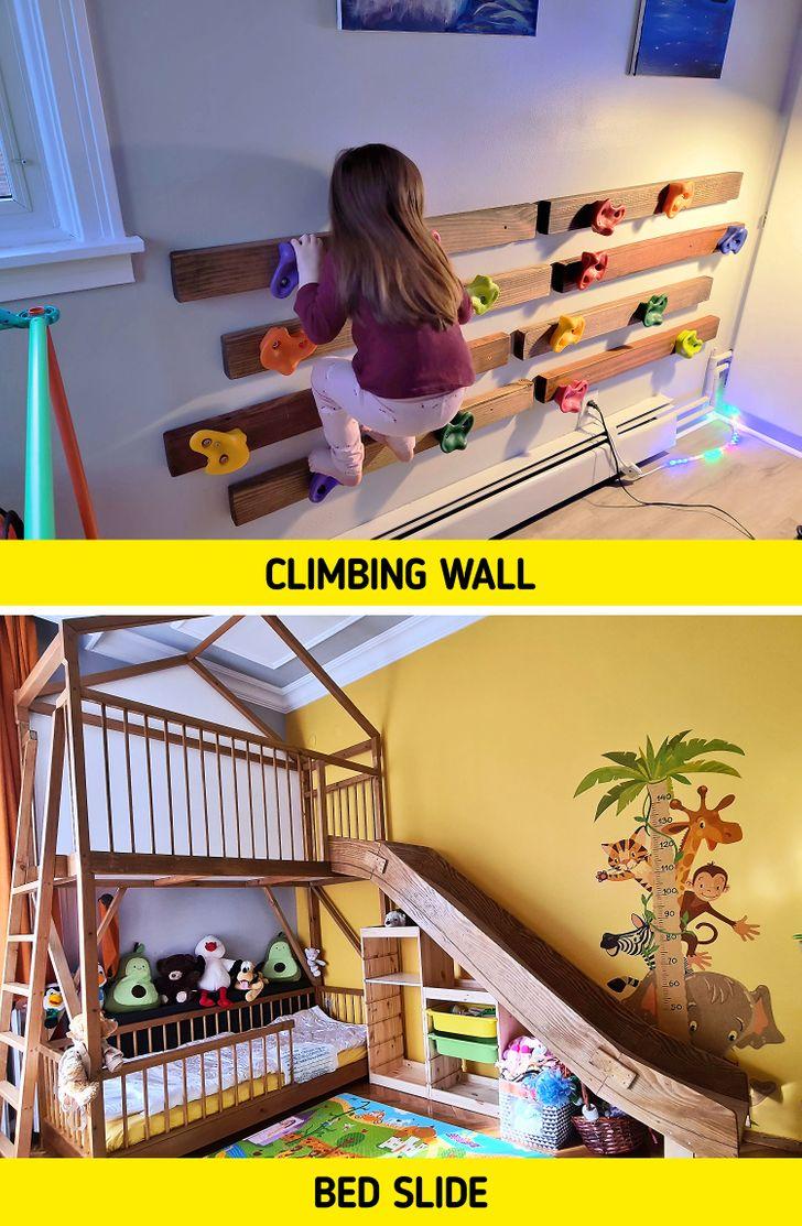 Hẳn các bé sẽ mê mệt với cầu trượt, tường leo núi ngay trong phòng ngủ như này.