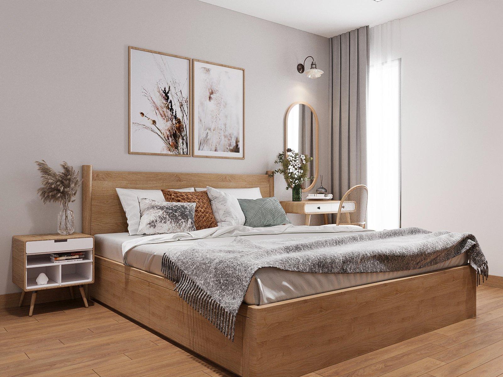 Không gian phòng ngủ master rộng thoáng với tâm điểm là khu vực giường ngủ bằng gỗ mộc mạc, decor theo lối đối xứng cân đối hài hòa.