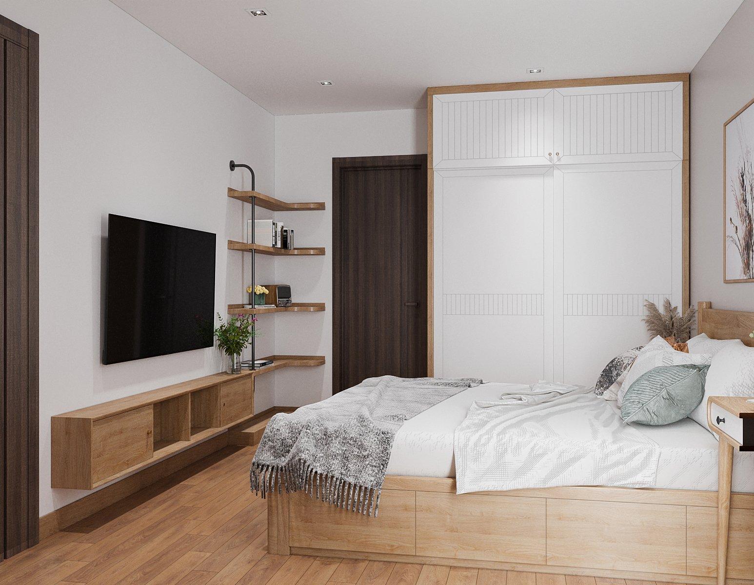 Tủ kệ tivi trong phòng ngủ được thiết kế khéo léo, gọn gàng tích hợp với giá để sách, bày đồ trang trí hoặc vật dụng cá nhân.