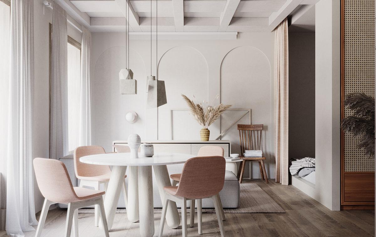 Đèn thả mặt dây chuyền tựa như một tác phẩm nghệ thuật điêu khắc, tạo điểm nhận và định vị khu vực phòng ăn trong căn hộ.