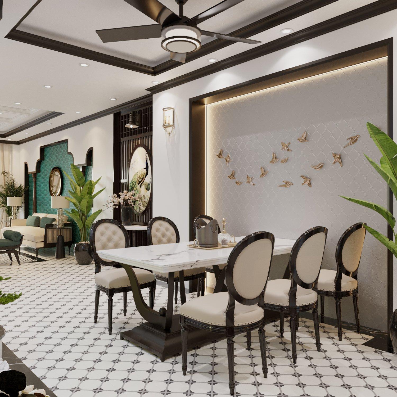 Phòng ăn ấm cúng, nổi bật với mặt bàn bằng đá cẩm thạch và bộ ghế nệm êm ái, sang trọng. Bức tường decor đàn chim én sải cánh sinh động, tràn đầy sức sống.
