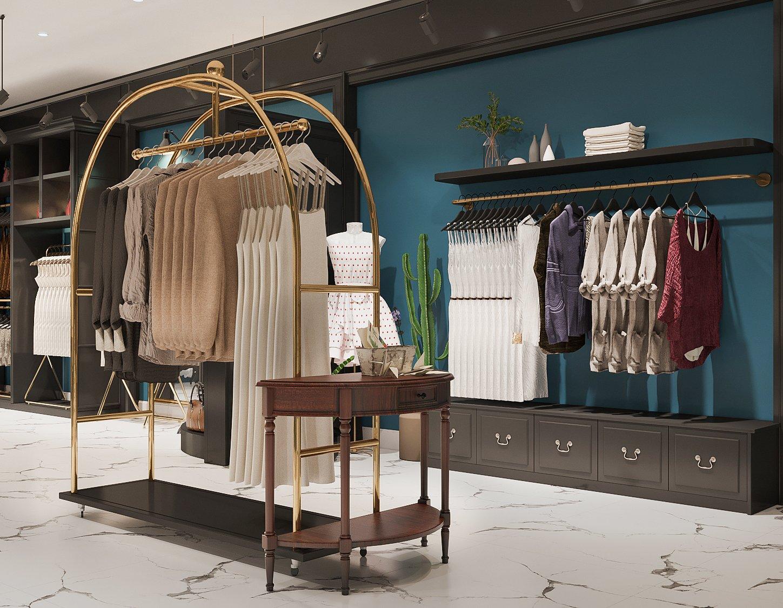 Cửa hàng thời trang thoáng đãng với tổng diện tích sàn 112m2. Mỗi sàn chỉ 56m2 nhưng được thiết kế và bài trí khoa học, tạo lối lưu thông rộng rãi.