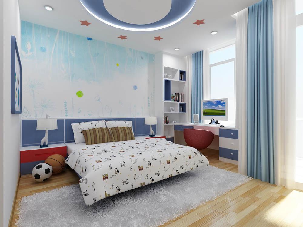 Phòng ngủ con trai với thiết kế năng động, trẻ trung, phối màu trắng - xanh dương hài hòa, kết hợp ăn ý cùng những điểm nhấn màu đỏ tinh tế.