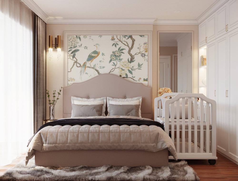 Điểm nhấn đẹp mắt cho phòng ngủ master của vợ chồng gia chủ là tranh tường họa tiết mùa xuân phía đầu giường. Căn phòng có thể đón sáng tự nhiên tối đa.