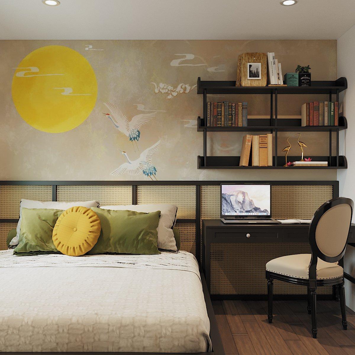 Góc làm việc nhỏ gọn, tiện nghi tích hợp trong phòng ngủ. Vách ốp đầu giường tạo cảm giác thân thiện, thư thái cho người dùng.