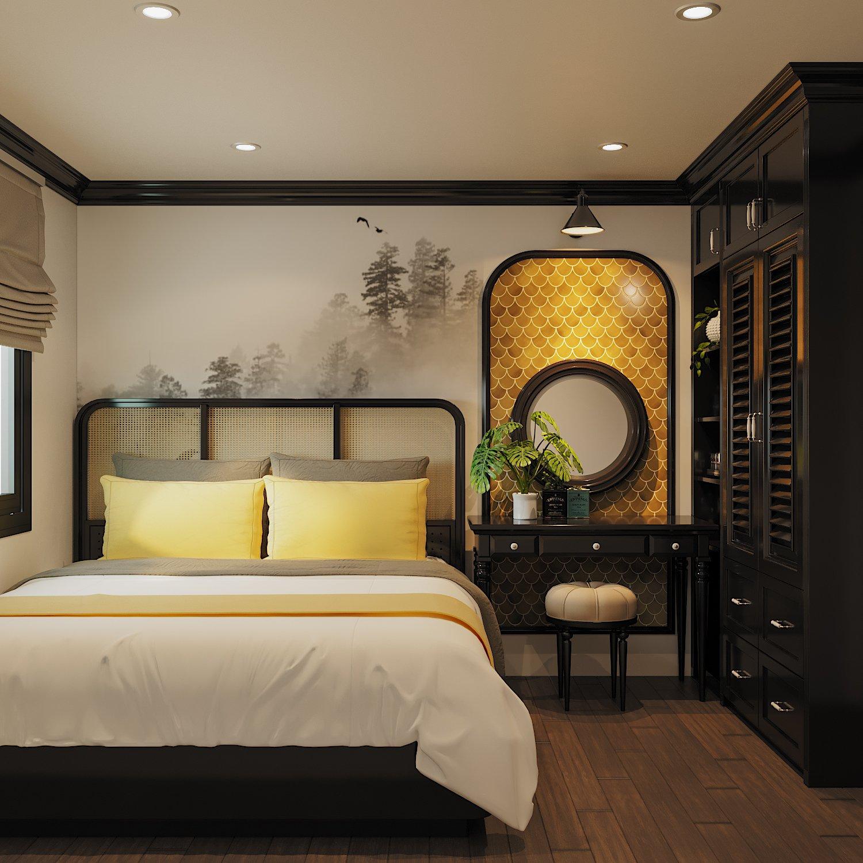 Phòng ngủ thứ ba trong căn hộ được thiết kế và bài trí sang trọng, ấn tượng với hoạt tiết vảy cá màu vàng đồng ở khu vực bàn trang điểm.