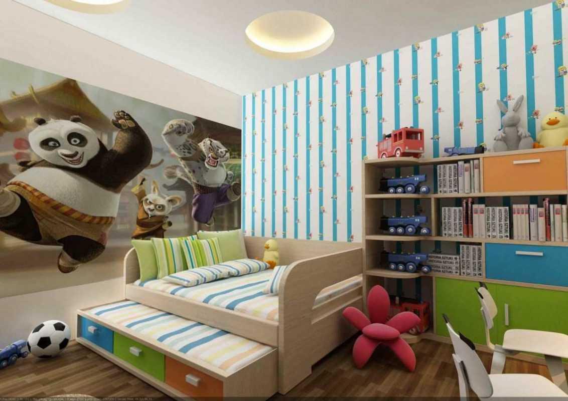 Phòng ngủ bé trai được thiết kế và trang trí với những tông màu tươi mới, trẻ trung,  phù hợp với độ tuổi của trẻ.