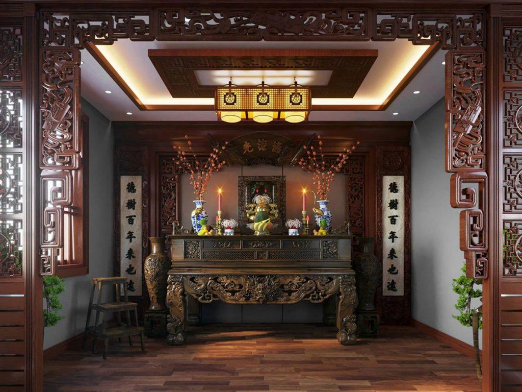 Không gian phòng thờ thoáng đãng, bài trí tôn nghiêm với nội thất gỗ tự nhiên chạm khắc hoa văn họa tiết tinh tế.