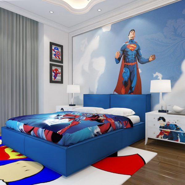 Mẫu thiết kế nội thất phòng ngủ bé trai được trang trí theo chủ đề siêu nhân, người nhện bắt mắt mà hầu hết các bé đều yêu thích.