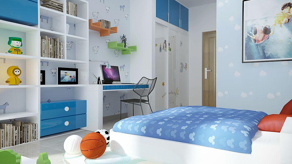 Phòng ngủ con trai với thiết kế sinh động và sắc nét. Hệ tủ kệ tích hợp bàn học, giá sách liền tường giúp tiết kiệm diện tích tối đa.