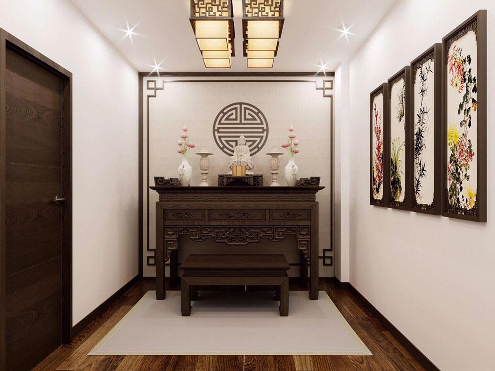 Không gian phòng thờ trang nghiêm, ấm áp với nội thất gỗ tự nhiên sẫm màu.