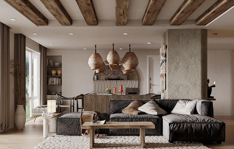 Dầm gỗ kết nối hài hòa với bàn cà phê và bar mini từ phòng bếp tạo sự đồng điệu, thống nhất trong từng đường nét thiết kế nội thất.