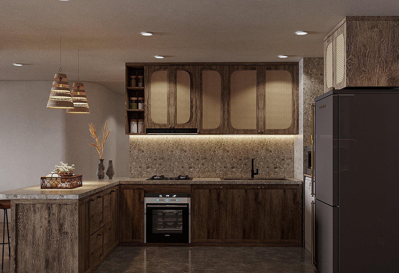 """Gian bếp cực gọn gàng, mọi thiết bị được """"giấu"""" nhẹm trong hệ tủ gỗ màu xám mộc mạc."""