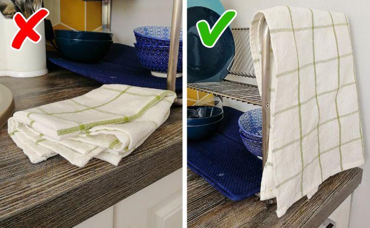 khăn kẻ sọc dùng trong nhà bếp