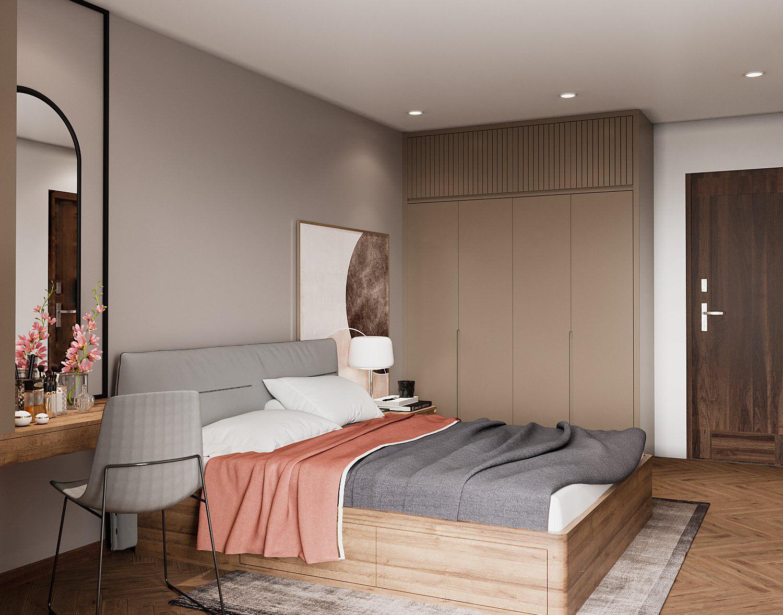 hình ảnh toàn cảnh phòng ngủ với giường gỗ, bàn trang điểm, gương bầu dục gắn tường, tủ quần áo cao kịch trần, chăn mỏng màu cam đất