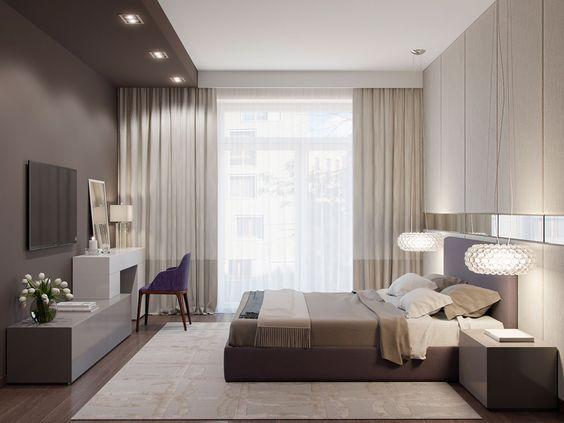 Phòng ngủ master được bài trí theo phong cách sang trọng, tối giản với bảng màu trung tính thanh lịch, tạo cảm giác thư thái cho người dùng.