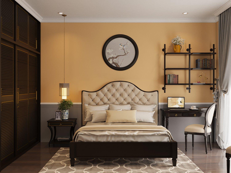 Phòng ngủ thứ hai được thiết kế với nội thất sang trọng, bảng màu phối kết ăn ý.