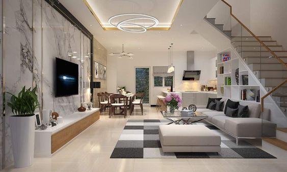 Trong nhà ống 5 tầng kết hợp kinh doanh, phòng khách, phòng ăn và bếp nấu được thiết kế liên thông không sử dụng tường ngăn