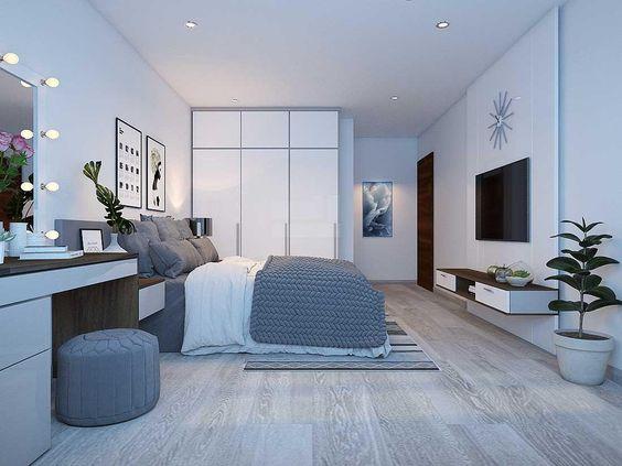 Phòng ngủ master rộng thoáng, thiết kế nội thất phong cách tối giản theo hướng Bắc Âu thanh lịch, tạo cảm giác thư giãn cho người dùng.