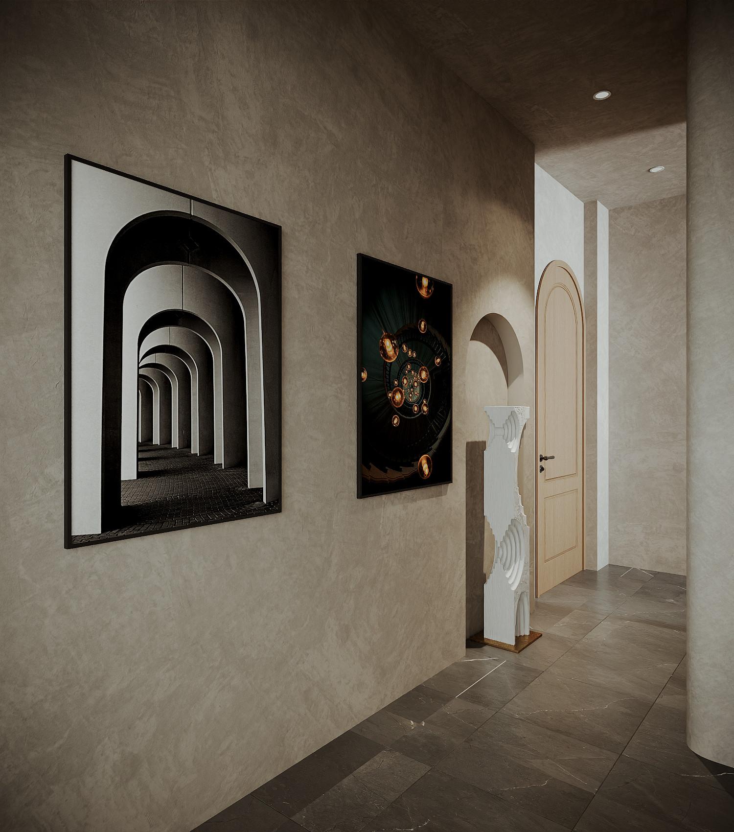 Tác phẩm nghệ thuật treo tường tạo chiều sâu cho không gian hành lang.