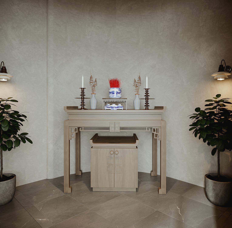 Gian thờ đơn giản nhưng vẫn đảm bảo tính tôn nghiêm thiết yếu.