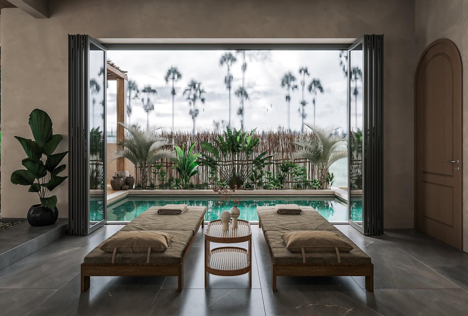 Khu vực bể bơi gia đình trên tầng 2 biệt thự được thiết kế tựa như resort nghỉ dưỡng.