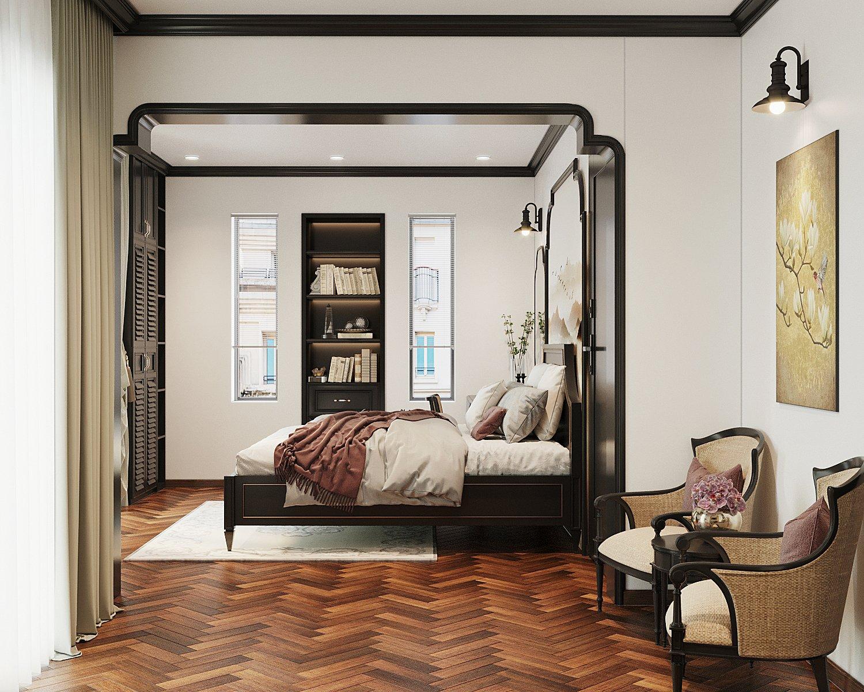 Những ô cửa kính hình chữ nhật tinh tế góp phần đón sáng tự nhiên tối đa cho không gian nhà, giúp tôn lên vẻ đẹp của đường nét nội thất.