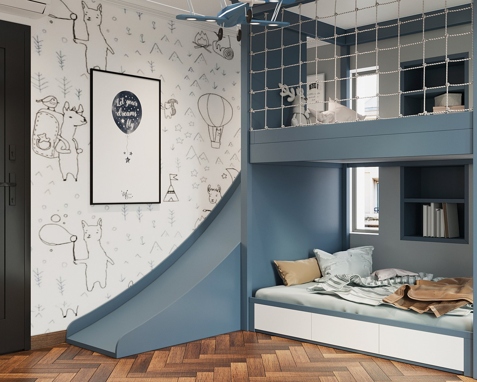 Thiết kế giường tầng tích cầu trượt đang là xu hướng rất được ưa chuộng, đặc biệt phù hợp với các bé trong độ tuổi mầm non, tiểu học.
