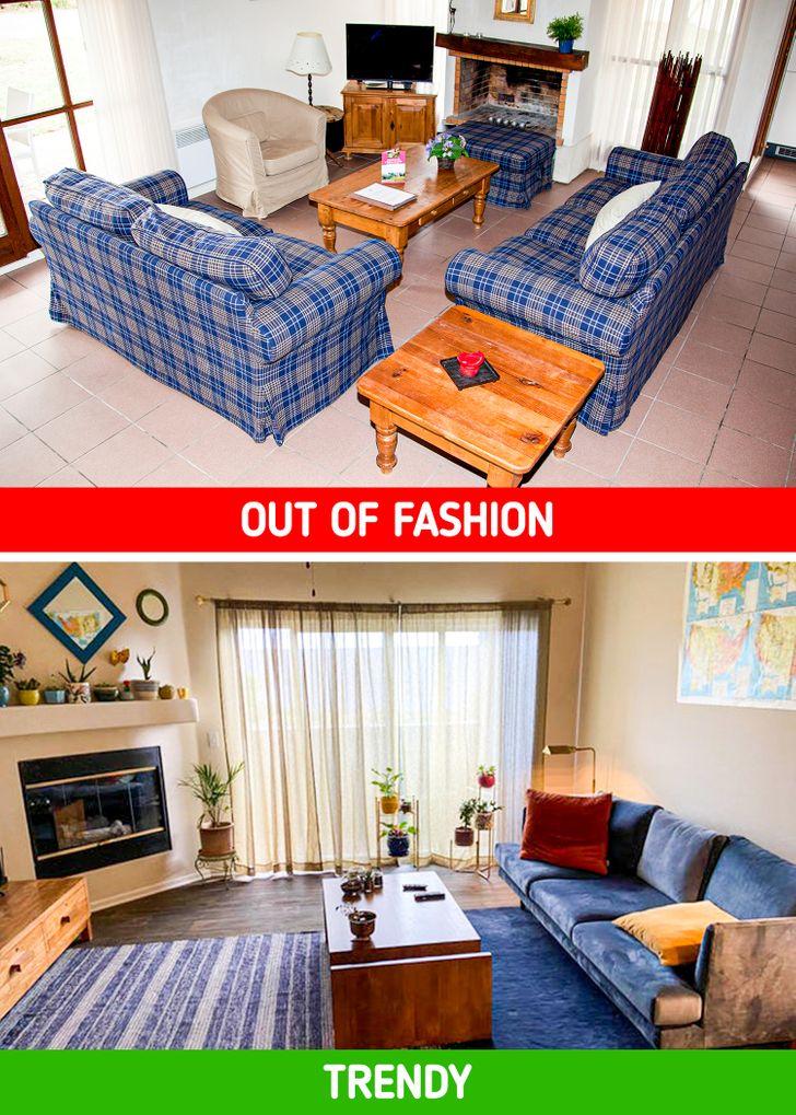 hình ảnh phòng khách thiếu sáng, vắng vẻ và phòng khách ấm áp, ngập tràn ánh sáng tự nhiên.