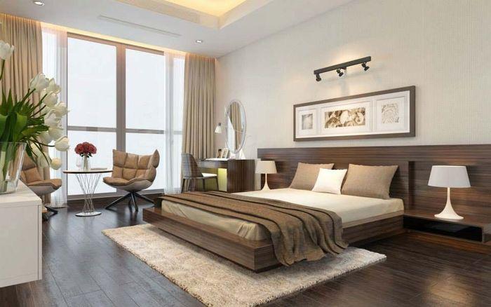 Không gian riêng tư của vợ chồng gia chủ được thiết kế và bài trí theo phong cách hiện đại, tối giản với nội thất màu trung tính trang nhã.