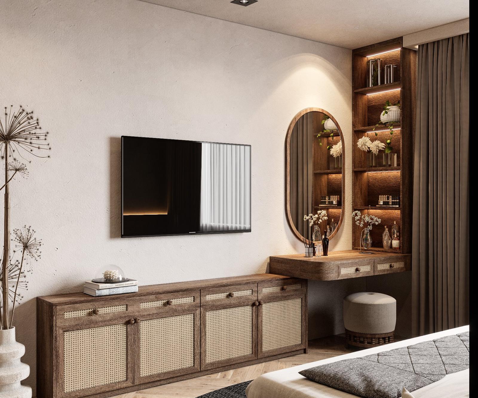 Đèn LED được lắp đặt khéo léo giúp làm nổi bật góc bàn trang điểm trong phòng ngủ lớn. Nội thất gỗ mộc kết hợp mây tre đan thủ công gợi nhớ về những ngôi nhà xưa yên bình.