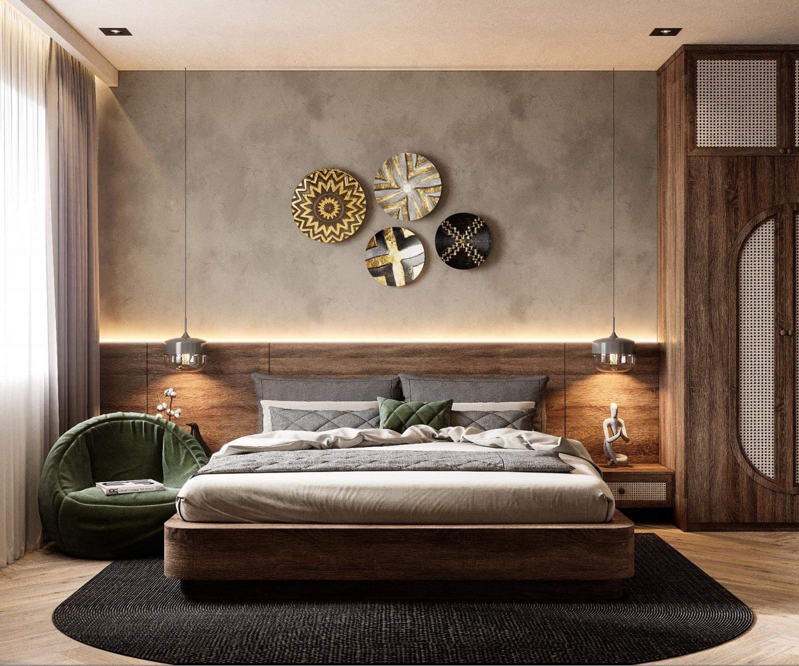 Phòng ngủ master phong cách chiết trung đơn giản, mộc mạc mang lại cho người dùng cảm giác thư giãn tối đa.