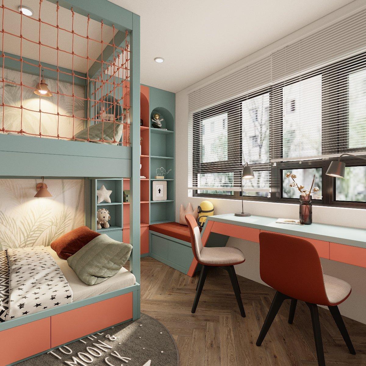 Không gian ngủ nghỉ, học tập, thư giãn được tích hợp khéo léo trong một. Đặc biệt, căn phòng tận dụng được tối đa ánh sáng tự nhiên, tốt cho mắt của trẻ.