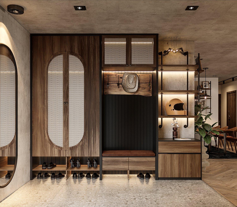 Lối vào căn hộ gây thiện cảm ngay từ cái nhìn đầu tiên bởi vẻ gọn gàng, thanh lịch cũng như sự tiện dụng cho người dùng.
