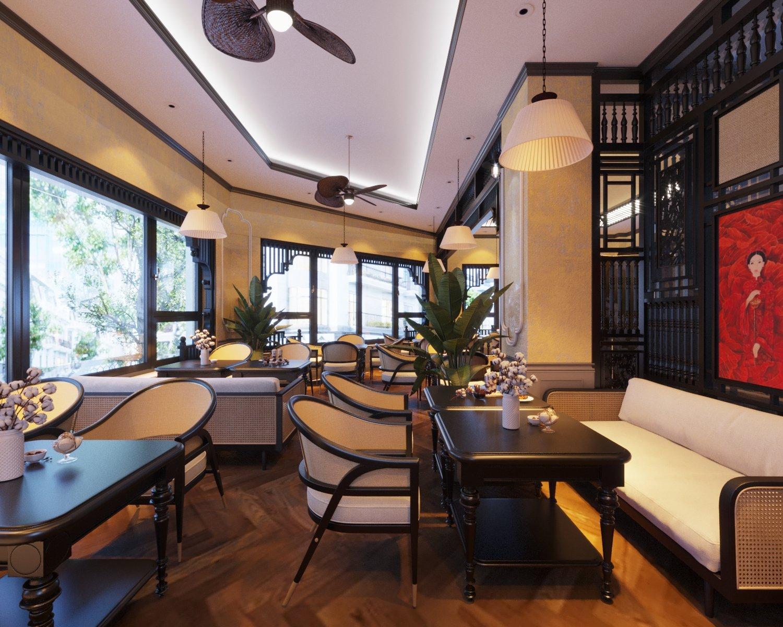 Những bộ bàn ghế bằng gỗ đen bóng kết hợp chất liệu mây tre đan và đệm ngồi êm ái tạo sự thoải mái, thư giãn cho thực khách.