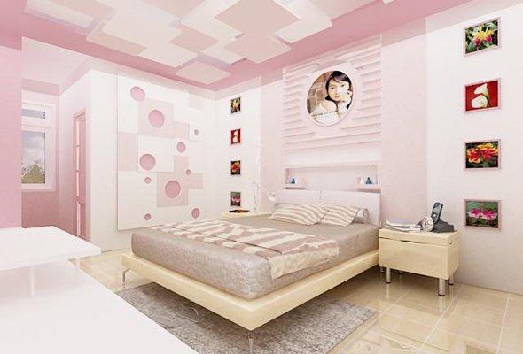 Không gian riêng dành cho cô con gái lớn với thiết kế nhẹ nhàng, nữ tính.