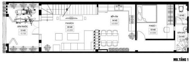 Mặt bằng thiết kế tầng 1 nhà phố hiện đại