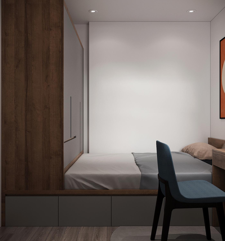 Giường và tủ quần áo tạo thành một khối liền mạch, thống nhất. Thiết kế nội thất thông minh giúp tối ưu hóa không gian sử dụng, đảm bảo sự tiện nghi cho gia chủ.