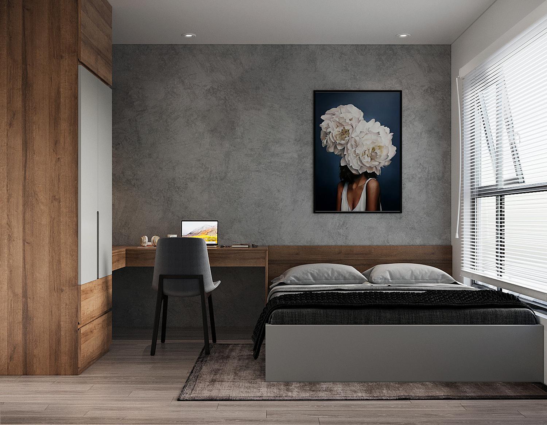 Phòng ngủ master có thiết kế tối giản với bảng màu tương tự phòng khách. Tủ gỗ cao kịch trần mang đến không gian lưu trữ thoải mái. Căn phòng tích hợp thêm góc làm việc nhỏ.