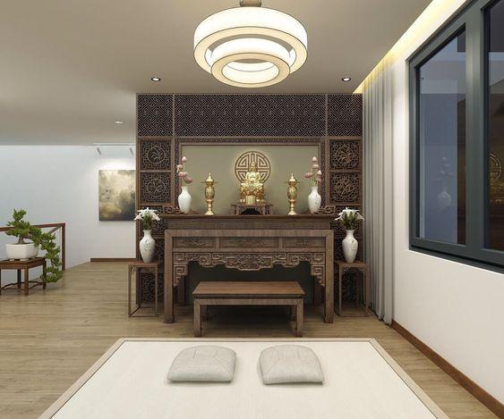 Phòng thờ thoáng rộng, bài trí gọn gàng với nội thất gỗ tự nhiên ấm áp.