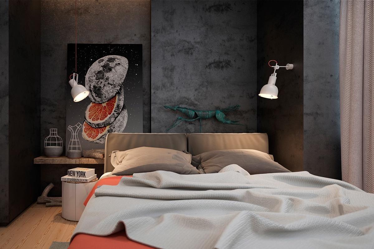 Phòng ngủ phong cách công nghiệp ấn tượng với hình ảnh mặt trăng và chanh cắt lát đầu giường. Tường bê tông màu xám gia tăng chiều sâu cho căn phòng.