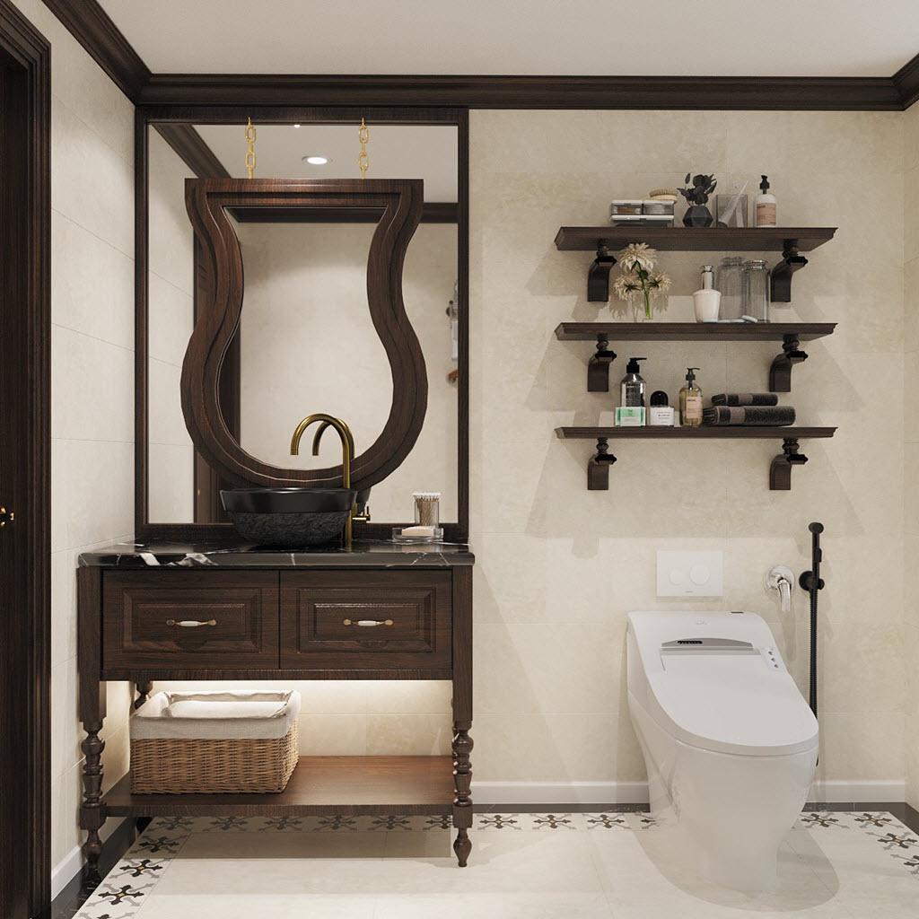 Phòng vệ sinh phong cách Indochine sang trọng và thoáng đãng với tủ lưu trữ, kệ mở gắn tường gọn đẹp.
